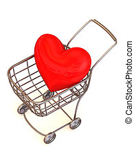 Consumer\'s basket with Heart. 3d