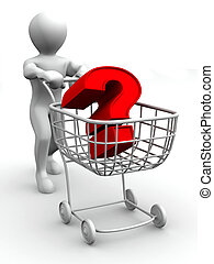 Consumer\'s basket with question. 3d