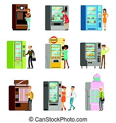 Consumers standing near vending machine and going to buy a drinks and food. Set of colorful cartoon detailed vector Illustrations
