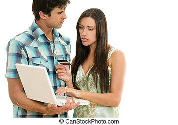 consumidor, gastando, online