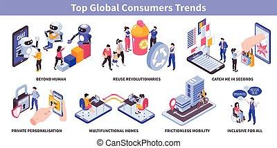 consumidor, tendencias, isométrico, conjunto