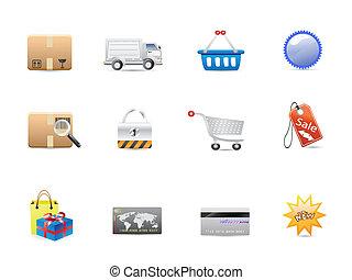 consumismo, set, shopping, icona