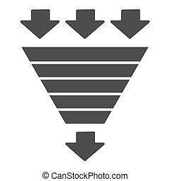 consumo, bottleneck, solido, web, vettore, imbuto, mobile, design., segno, stile, glyph, icon., graphics., bianco, piramide, pictogram, benchmarking, grafico, concetto, fondo., diagramma, simbolo