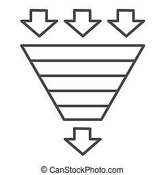 consumo, bottleneck, web, vettore, imbuto, mobile, design., segno, stile, linea, icon., graphics., bianco, piramide, pictogram, benchmarking, magro, grafico, concetto, fondo., diagramma, simbolo, contorno
