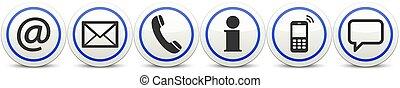 contáctenos, botón, iconos, conjunto, seis
