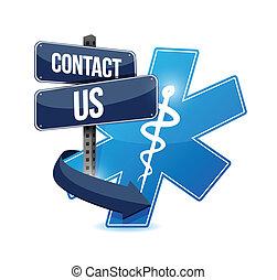 contáctenos, símbolo médico, ilustración, diseño