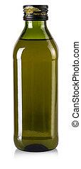 contém, cortando, branca, garrafa, arquivo, isolado, azeitona, experiência., caminho, óleo