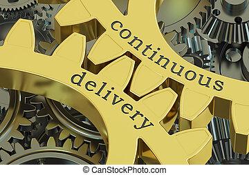 contínuo, entrega, conceito, ligado, a, engrenagens, 3d, fazendo