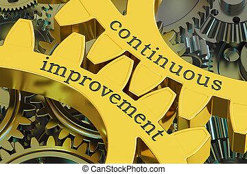 contínuo, melhoria, conceito, ligado, a, engrenagens, 3d, fazendo