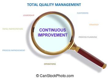 contínuo, melhoria, e, total, manejo qualidade, metodologia