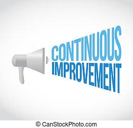 contínuo, melhoria, megafone, mensagem