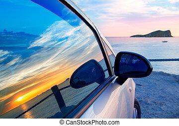 conta, 自動車, ibiza, ガラス窓, cala, conmte