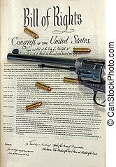 conta, balas, revólver, direitos
