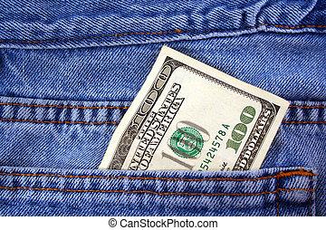 conta dólar, calças brim, um, bolso, cem