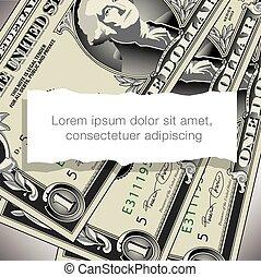 conta dólar, desenho, um