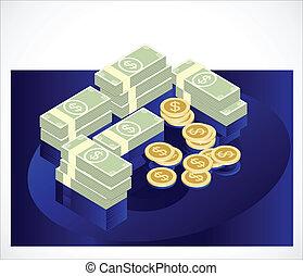 conta, dólar, dinheiro, vetorial, moeda, ícone