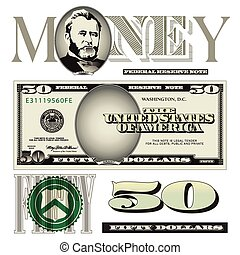 conta, dólar, elementos, cinqüenta