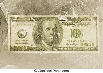 conta, dólar, gelo, um, atrás de, cem