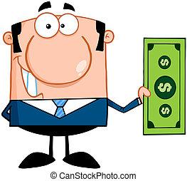 conta, dólar, segurando, homem negócio