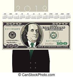 conta, dólar, um, 2019, calendário, cem
