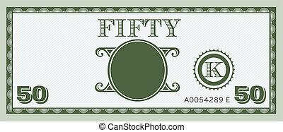 conta, dinheiro, image., cinqüenta