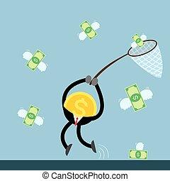 conta, dinheiro, voando, dólar, apanhar, moeda
