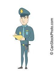 conta, policial, escrita, tráfego, multa, Caucasiano