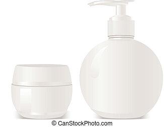 conta, sabonetes, cosméticos, vetorial, gel