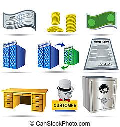 contabilidad, 3, conjunto, iconos