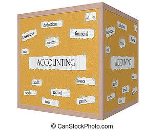 contabilidad, 3d, cubo, corkboard, palabra, concepto