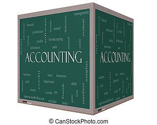 contabilidad, 3d, cubo, palabra, nube, concepto, en, un, pizarra