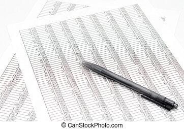 contabilidad, bolígrafo, documentos