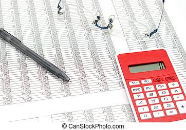 contabilidad, bolígrafo, documentos, calculadora, anteojos