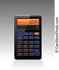 contabilidad, calculadora, negro, clásico