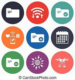 contabilidad, carpetas, icons., agregar, documento, símbolo.