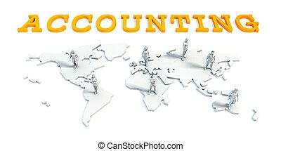 contabilidad, concepto, con, equipo negocio