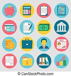 contabilidad, conjunto, iconos
