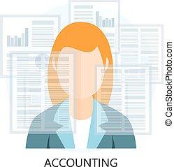 contabilidad, icono, mujer de negocios