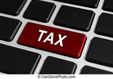 contabilidad, impuesto, botón, en, teclado