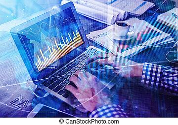 contabilidad, informe, y, finanzas, concepto