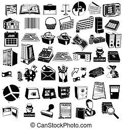 contabilidad, negro, iconos