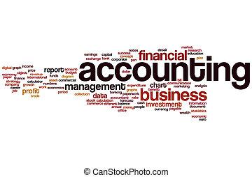 contabilidad, palabra, nube
