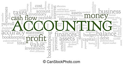 contabilidad, palabra, nube, burbuja de la palabra,...