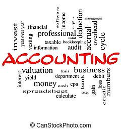 contabilidad, palabra, nube, concepto, en, rojo, tapas