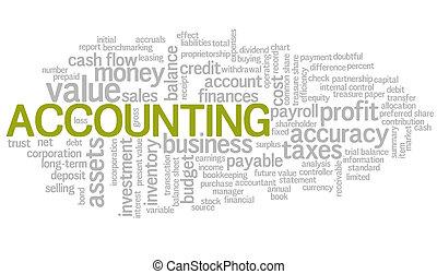 contabilidad, palabra, nube, verde, burbuja, etiquetas, vector