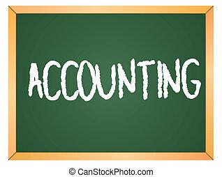 contabilidad, palabra, pizarra