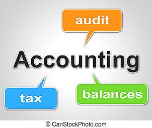 contabilidad, palabras, indica, equilibrar libros, y, contador