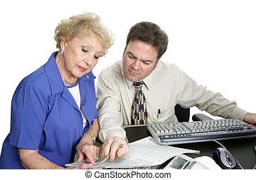 contabilidad, serie, -, mujer mayor