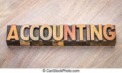 contabilidade, abstratos, madeira, palavra, tipo