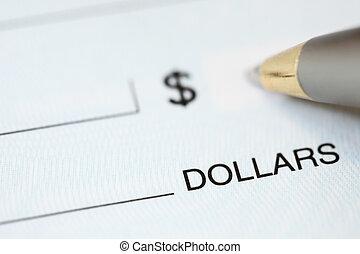 contabilidade, cheque, escrita